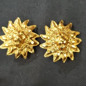 Chanel Gold Lion CC Clip-On Earrings